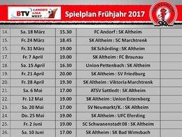 Spielplan Frühjahr 2017