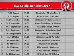 Spielplan LLW Herbst 2017
