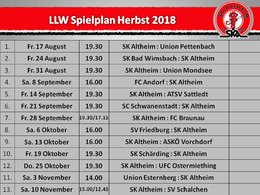 Spielplan Herbst 2018